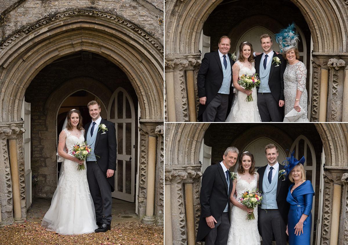 Family wedding photos at All Saints church in Polebrook near Oundle