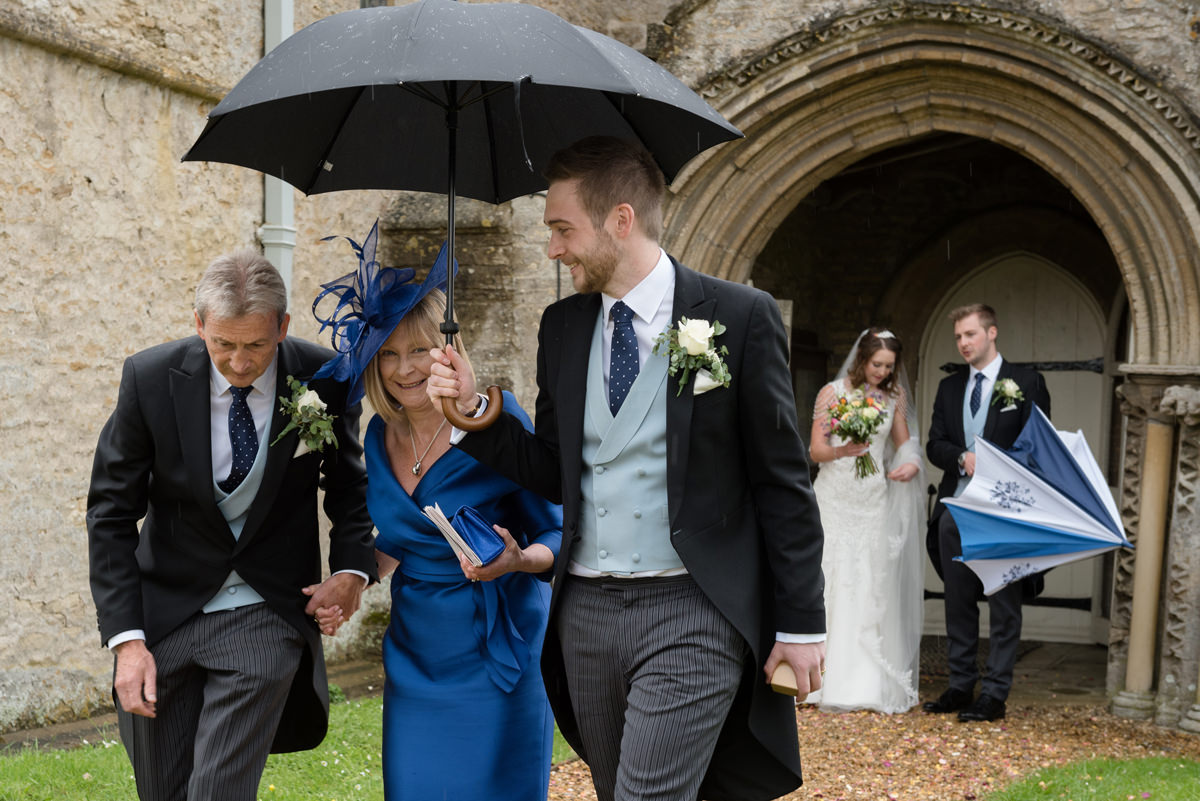 A wet wedding at All Saints church in Polebrook near Oundle