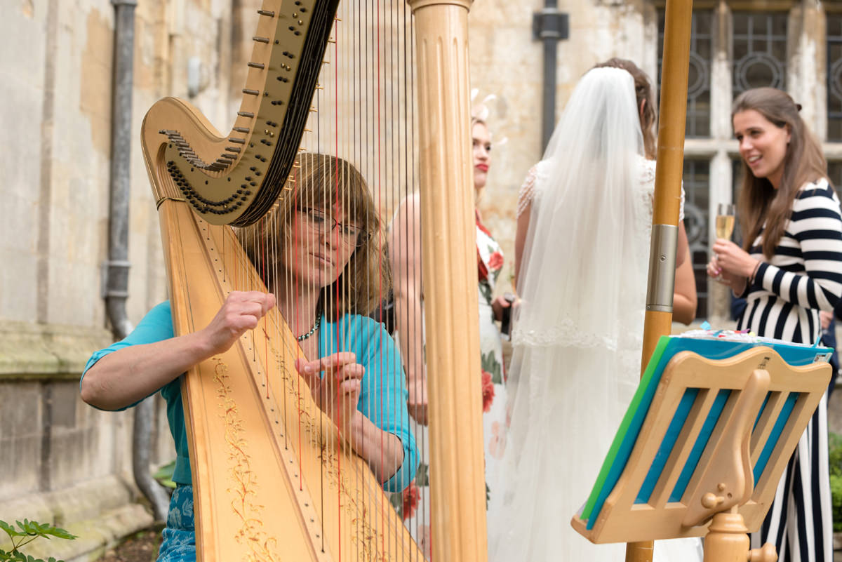 A wedding harpist at Rushton Hall in Kettering