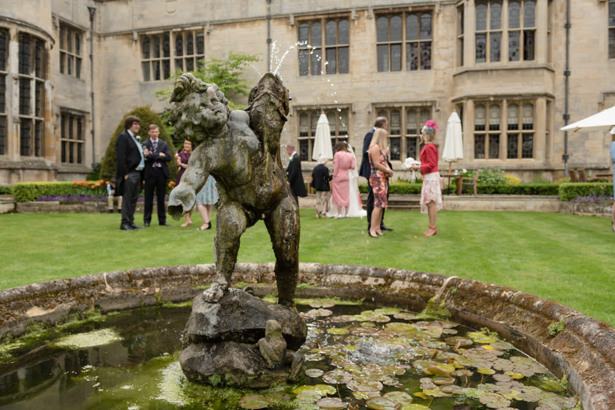 The water feature in the courtyard at Rushton Hall in Kettering