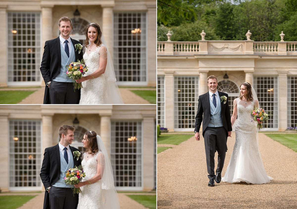 Bride and groom portraits in front of the orangery at Rushton Hall in Kettering