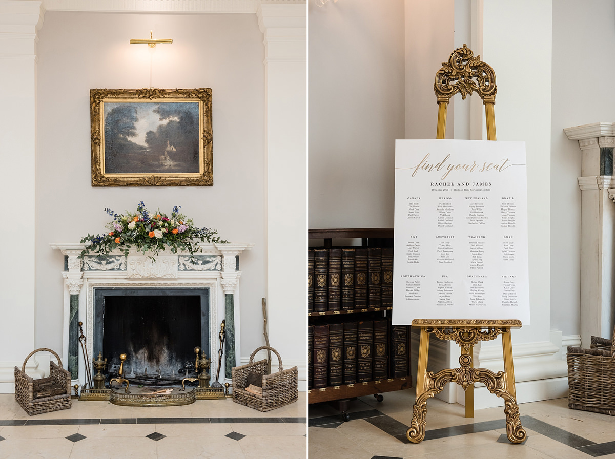 The entrance hall fireplace decorated for a wedding at Rushton Hall in Kettering