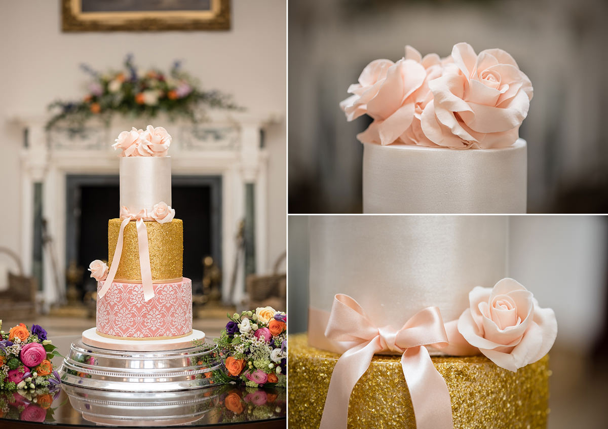 Wedding cake in front of the fireplace in the orangery at Rushton Hall in Kettering