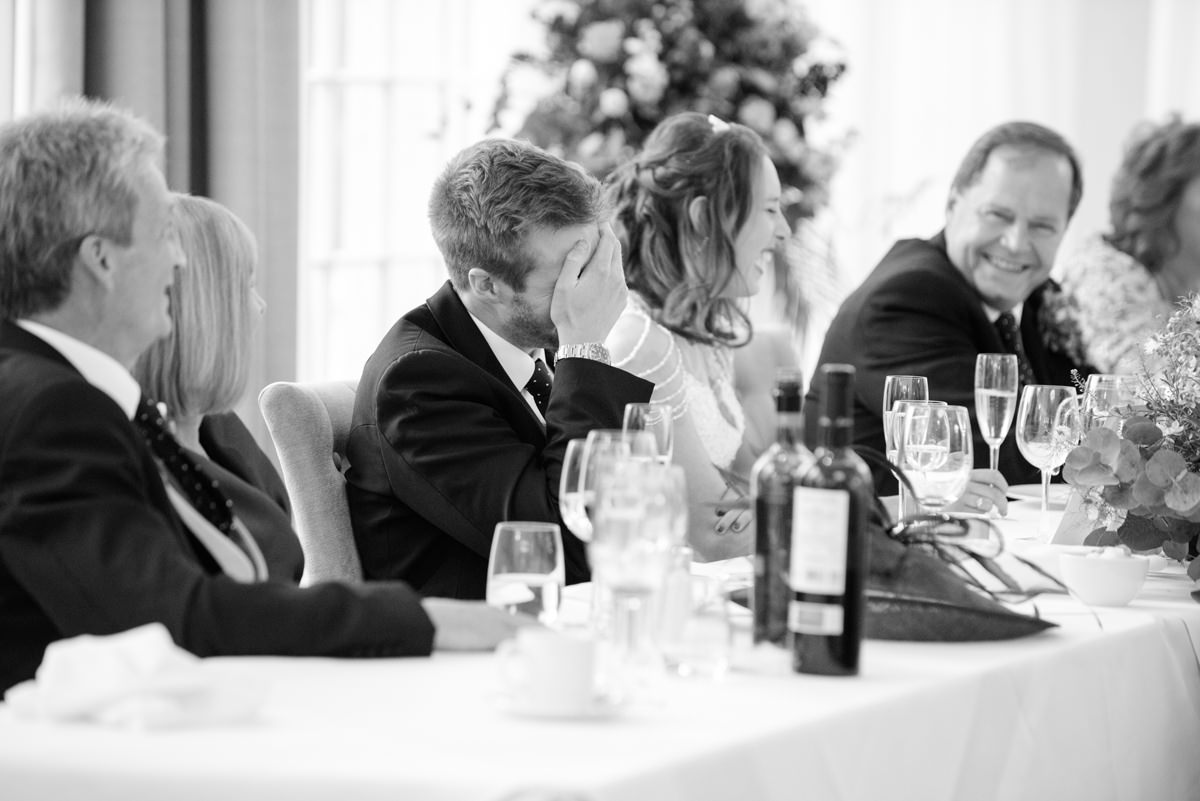 Groom embarrassed at best man's speech at Rushton Hall in Kettering