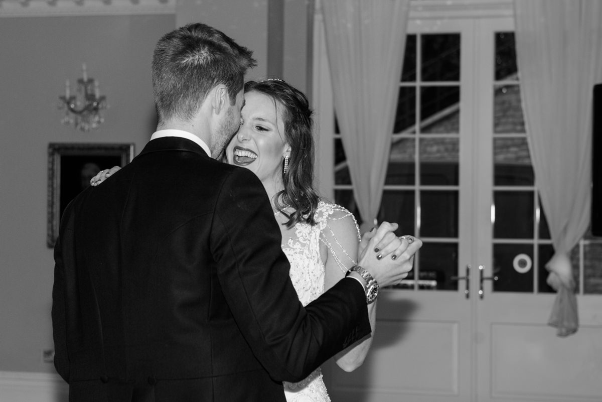The couple's first dance at Rushton Hall in Kettering