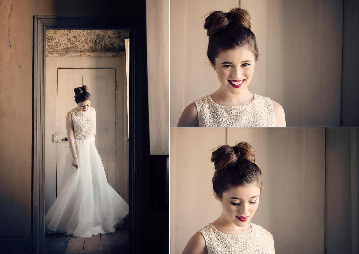 Bridal portraits in the unused Dower House at Boughton House