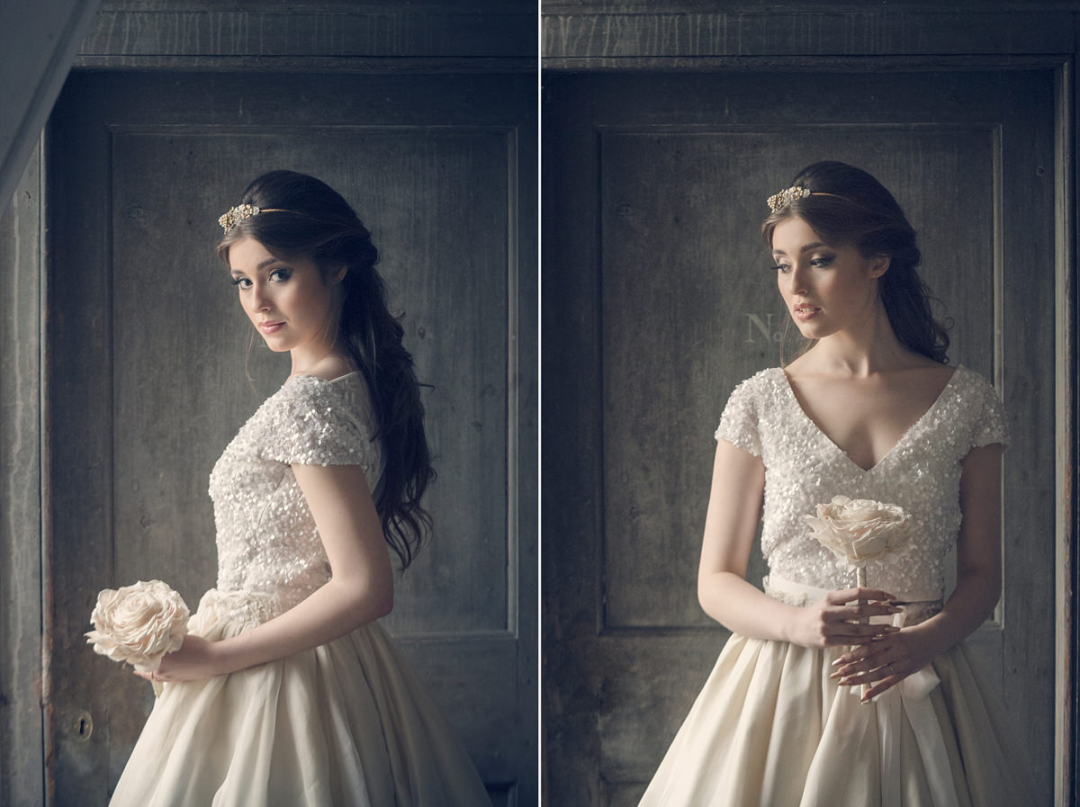 Bridal portraits in front of a door in the attic at Boughton House