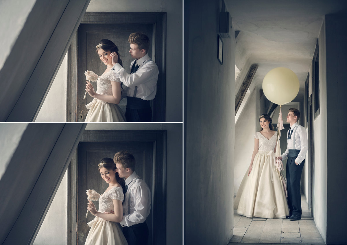 Couple portraits in the attic corridor at Boughton House