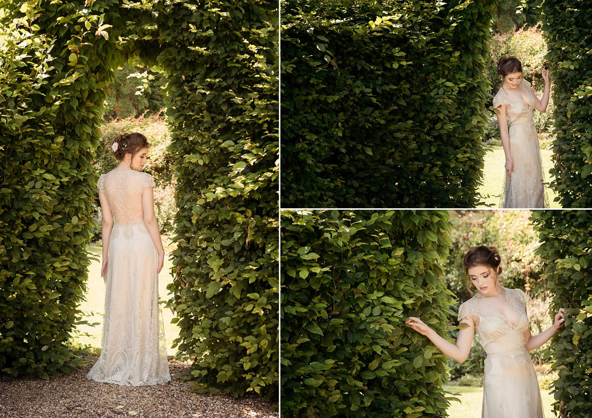 Bride staying cool in the shade of a hedge at Boughton House