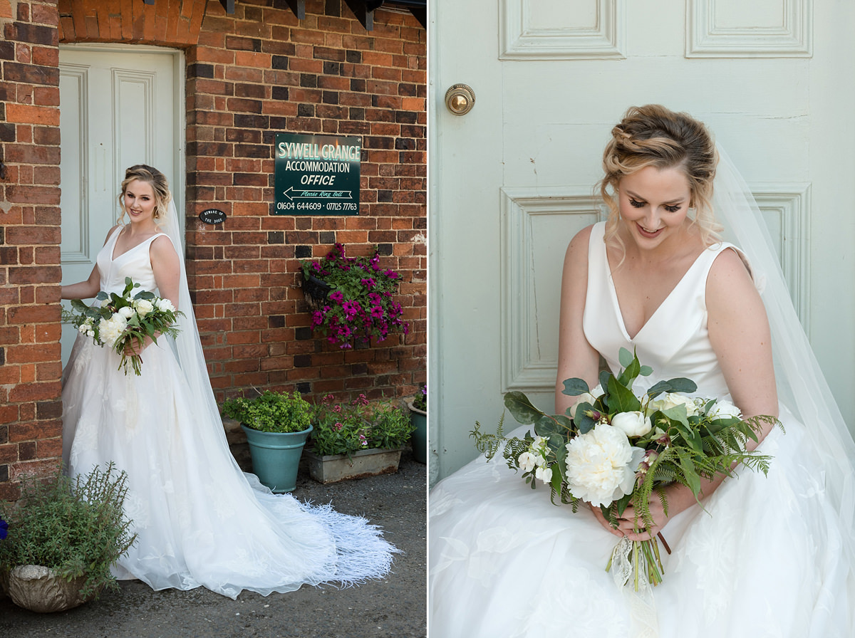 Bride in front of a rustic pale green door at Sywell Grange in Northampton
