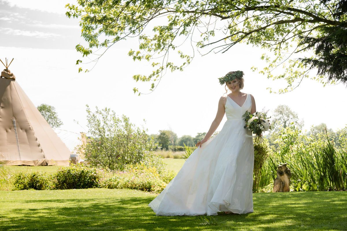 Bride wearing a foliage crown at Sywell Grange in Northampton