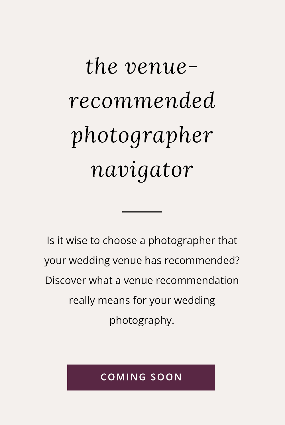 Is it a good idea to pick a photographer recommended by your wedding venue