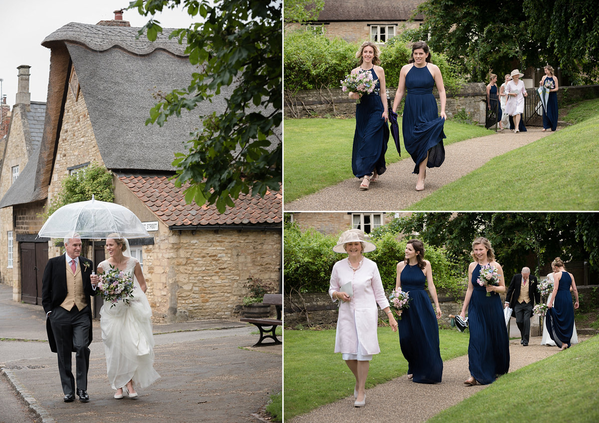 Bride and bridesmaids arriving at St Mary's church in Geddington, Northants