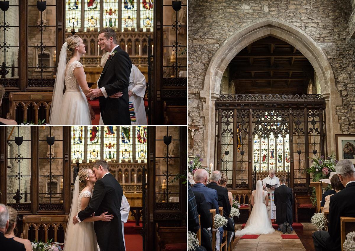 Wedding ceremony at St Mary's church in Geddington, Northants