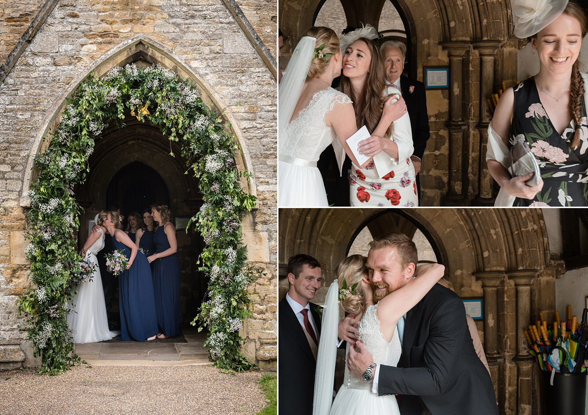 Wedding guests coming out of St Mary's church in Geddington, Northants