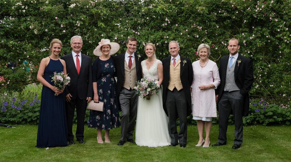Family photo at a wedding in Geddington