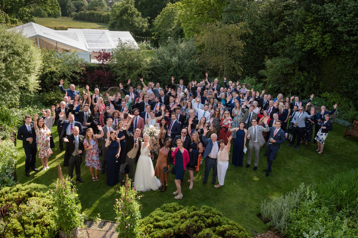 Photo of everyone at a wedding in Geddington, Northants