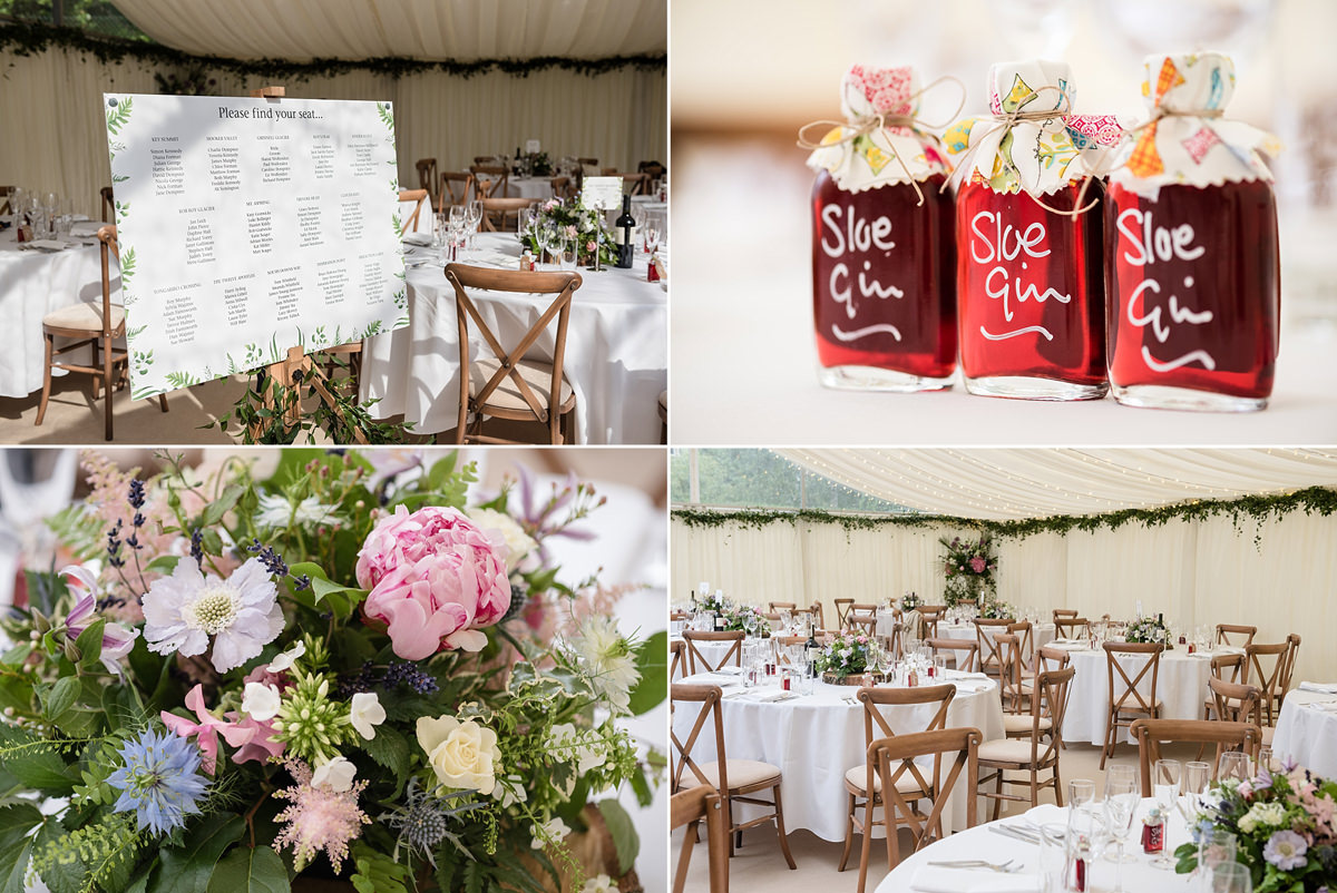 Marquee decor for a wedding at home in Geddington, Northants