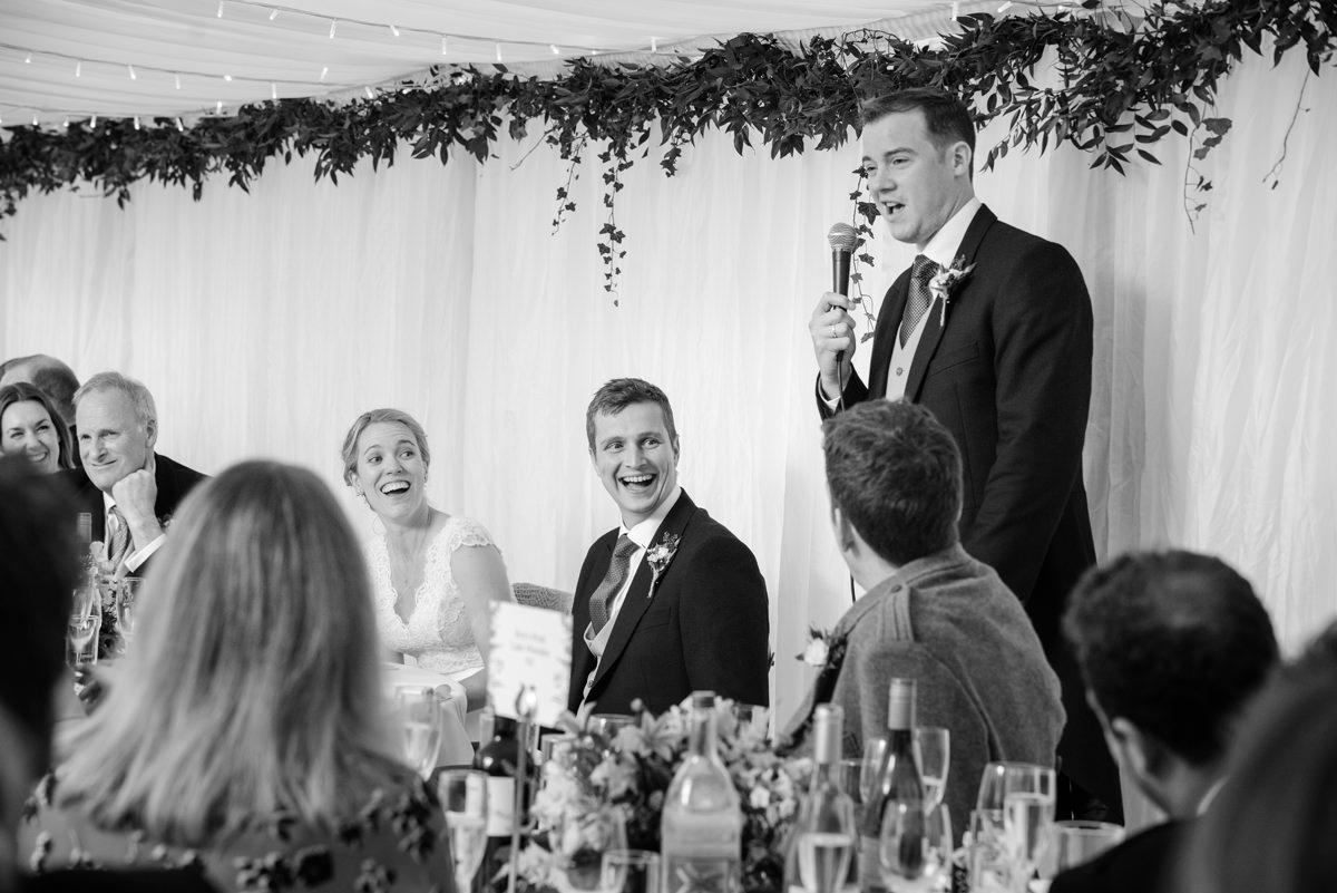 Best man's speech at a marquee wedding in Geddington, Northants