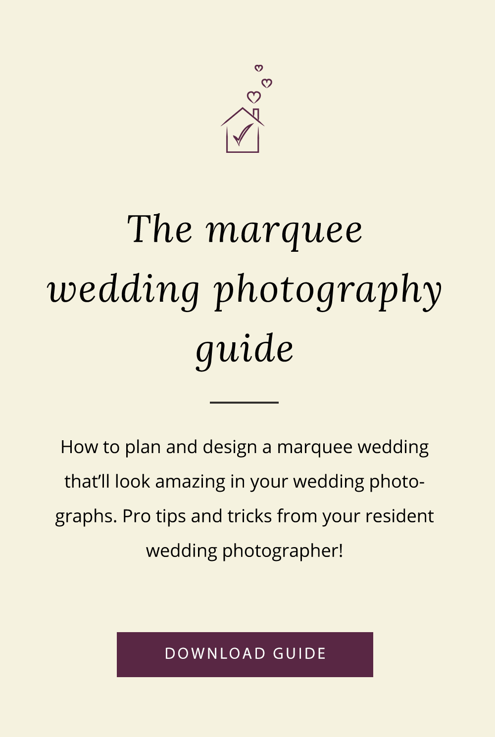 Photography advice for marquee weddings at home