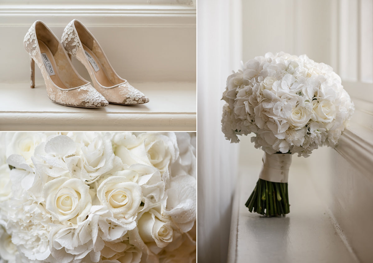Bride's white bouquet & Jimmy Choos in The Georgian Suite at Rushton Hall