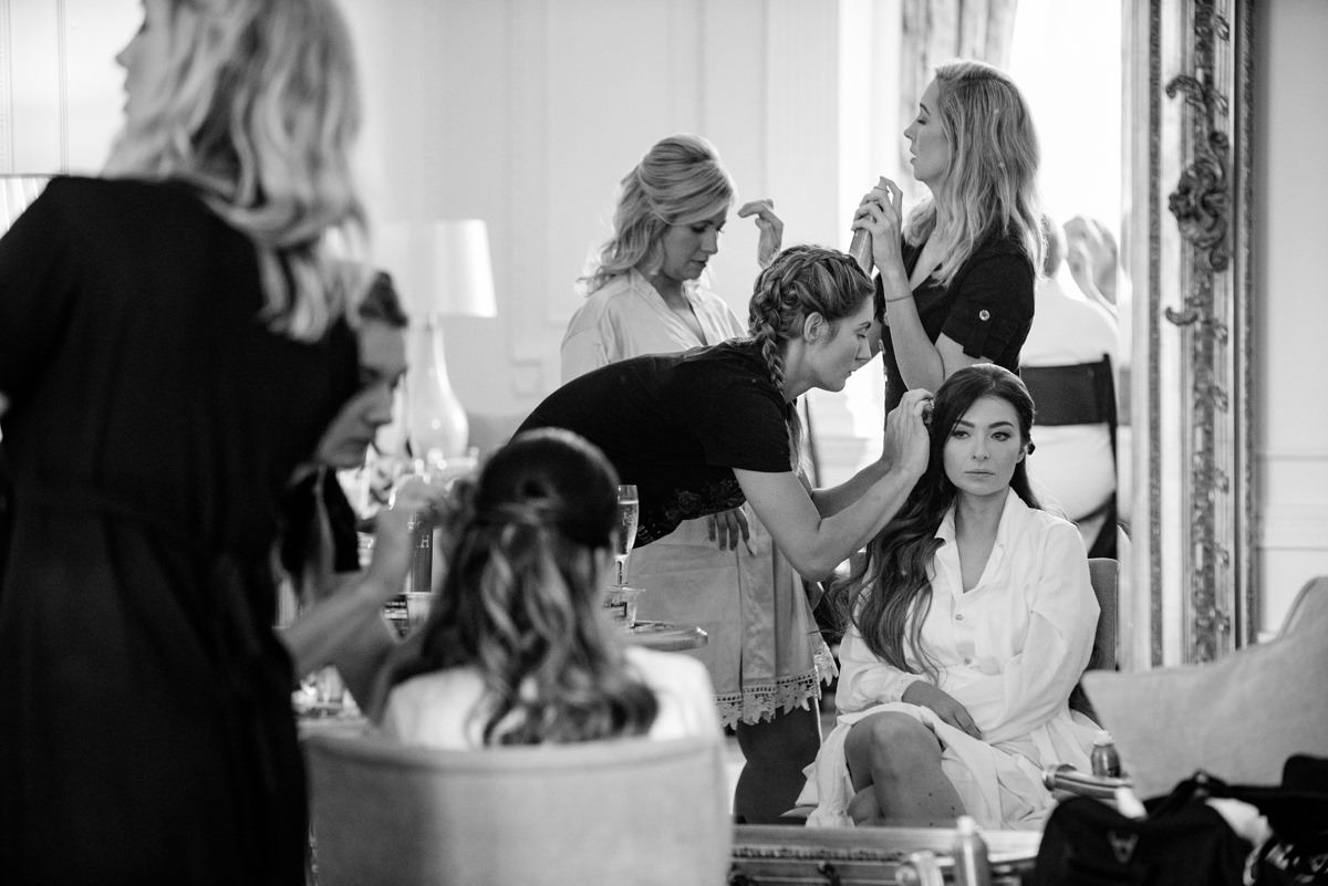 Bridal party hair styling in The Georgian Suite at Rushton Hall