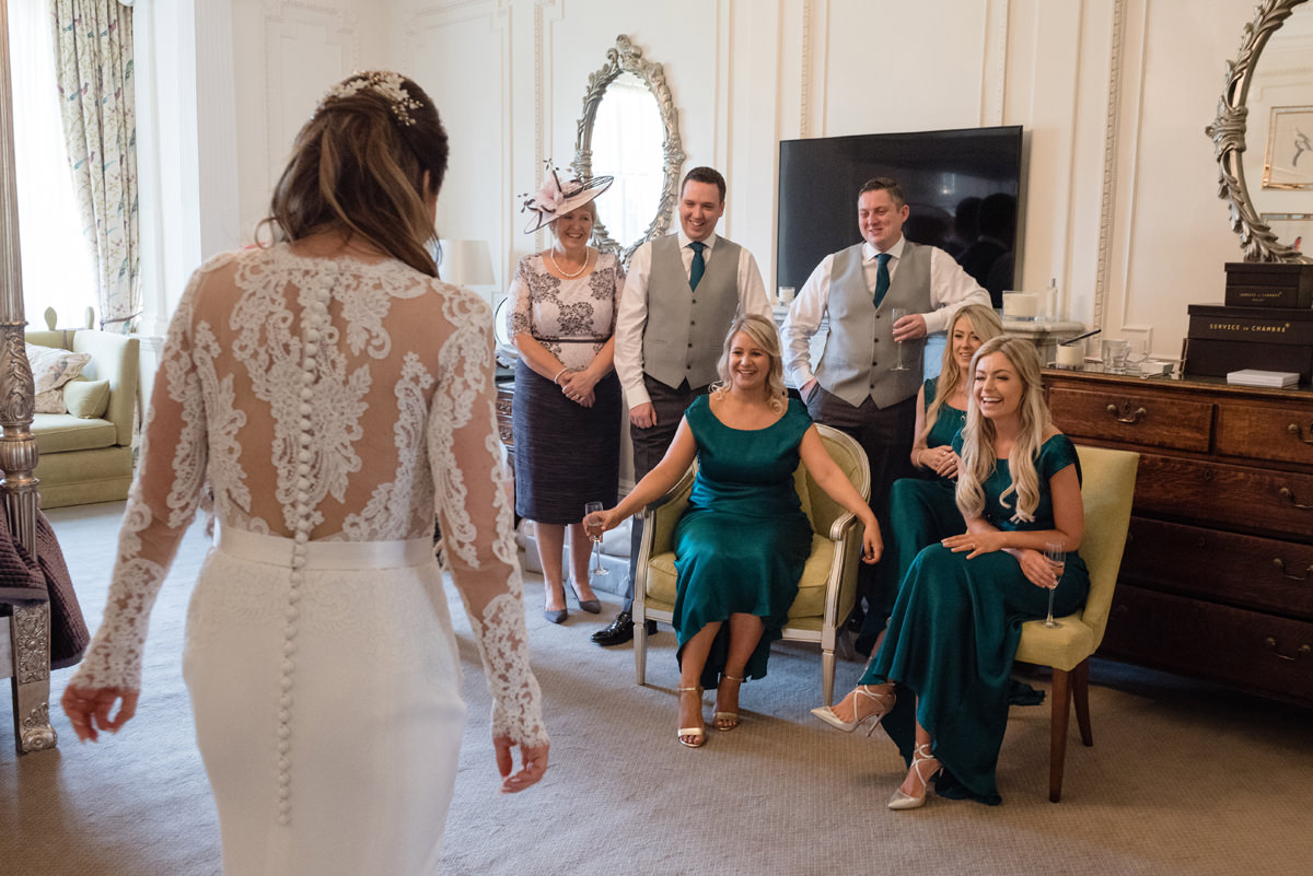 The dress reveal in The Georgian Suite at Rushton Hall
