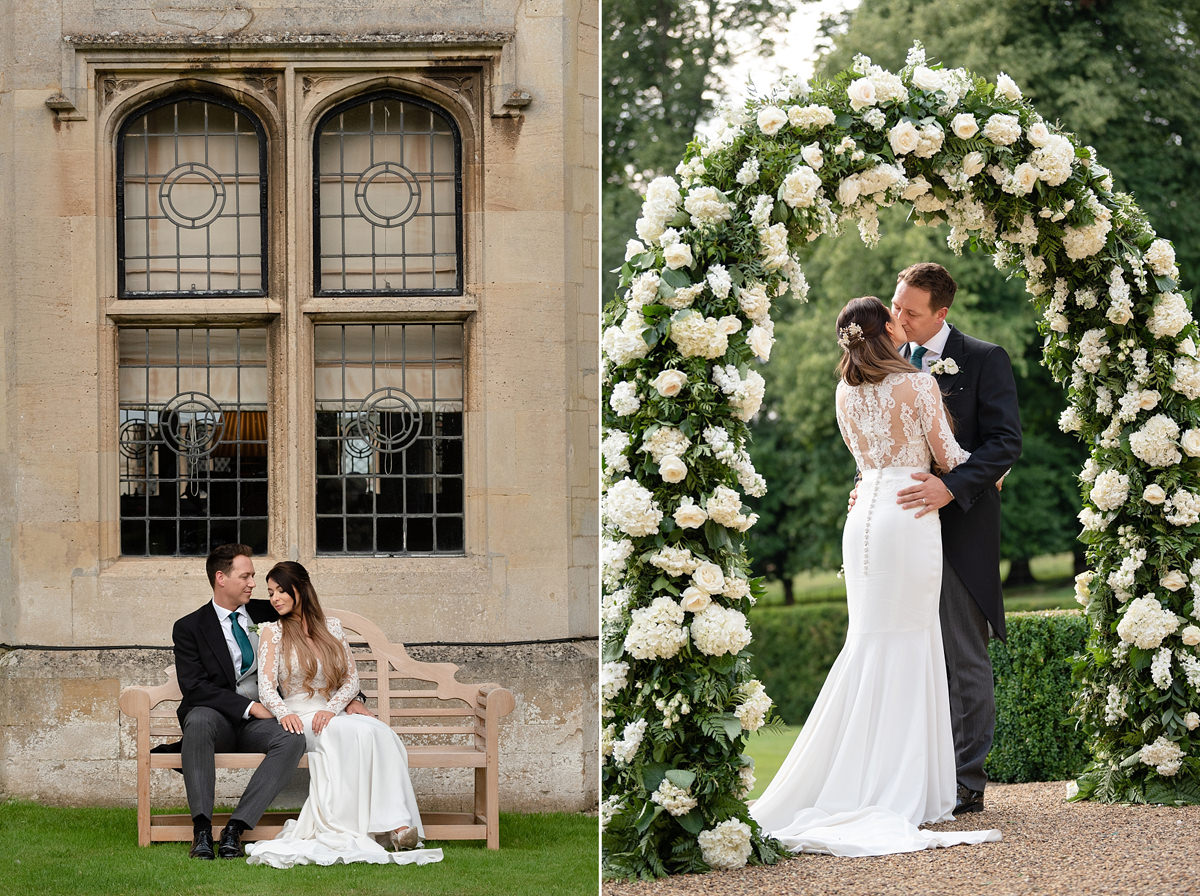 Portraits of bride and groom at Rushton Hall