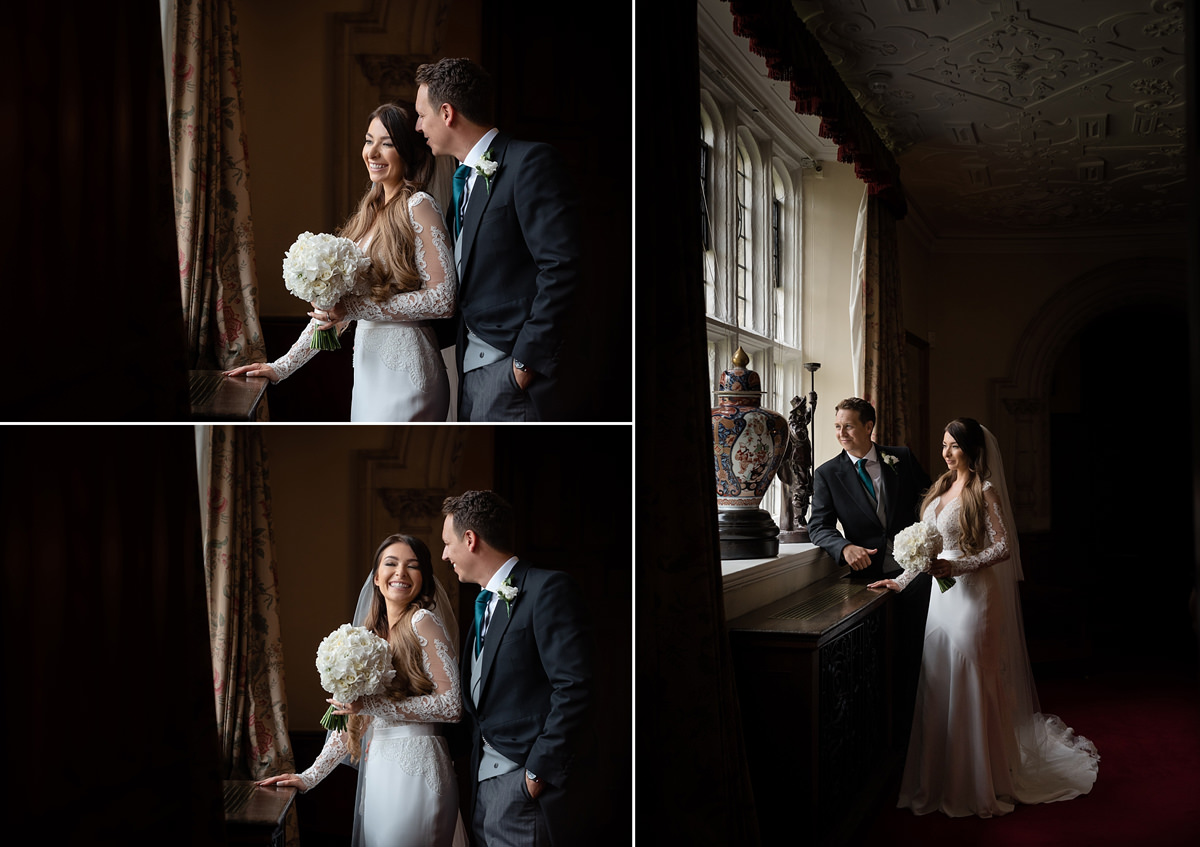 Bride and groom portraits at Rushton Hall