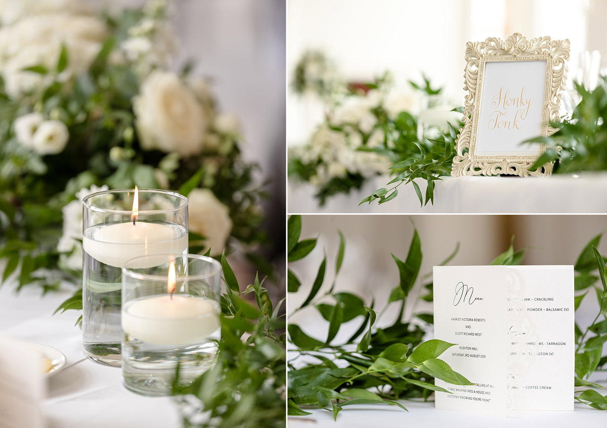Dinner decor ideas in the ballroom in the orangery at Rushton Hall
