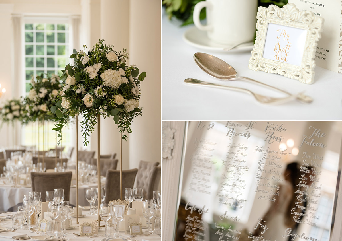 White decor ideas in the ballroom in the orangery at Rushton Hall