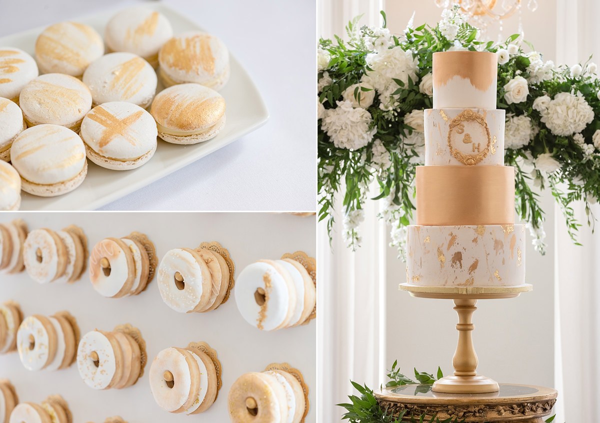 White and gold wedding cake, macarons and doughnuts at Rushton Hall