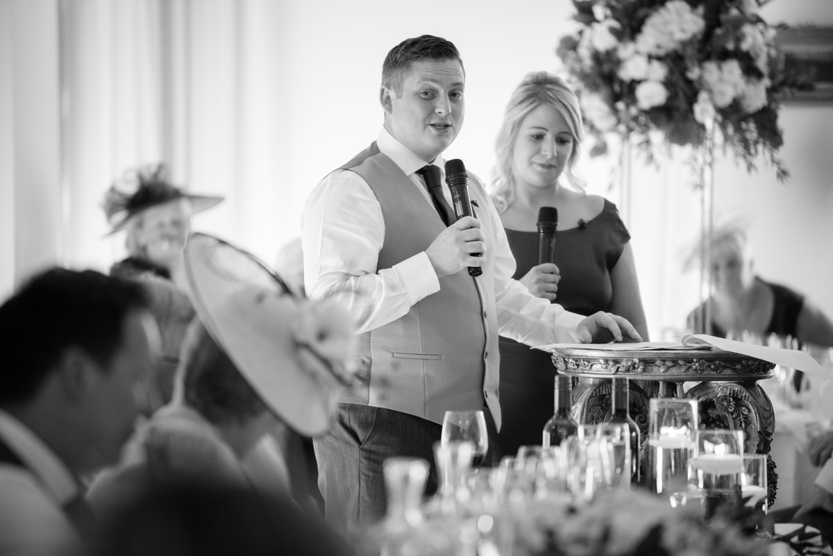 Best Man's speech in the orangery ballroom at Rushton Hall