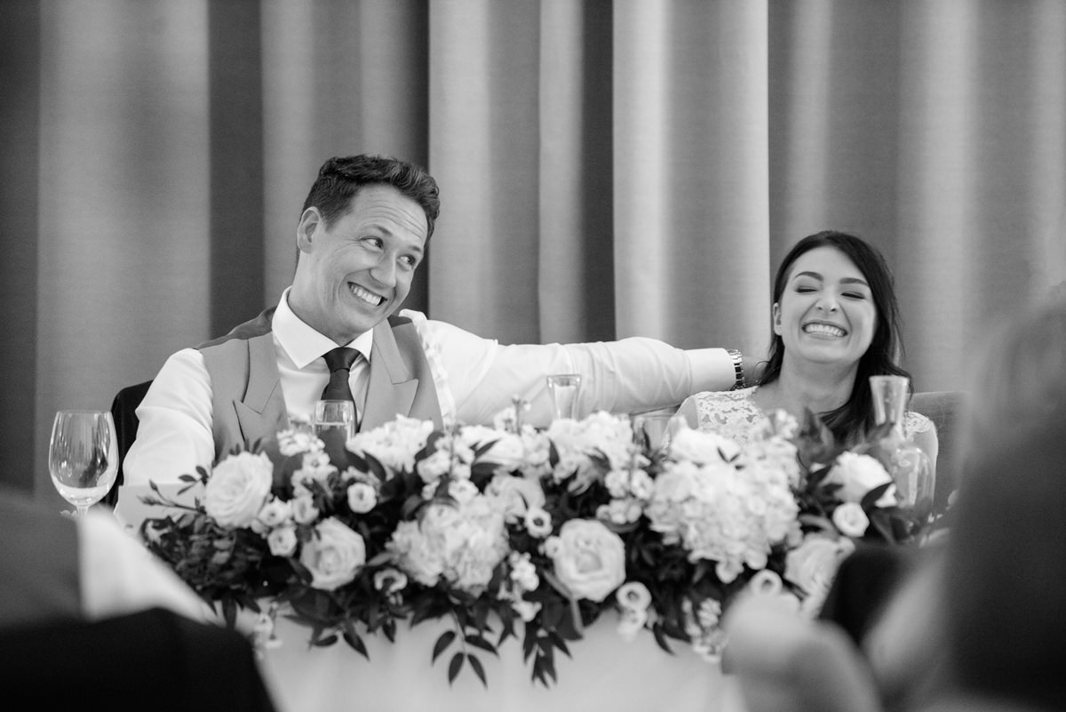 Bride and groom's reactions the best man's speech at Rushton Hall