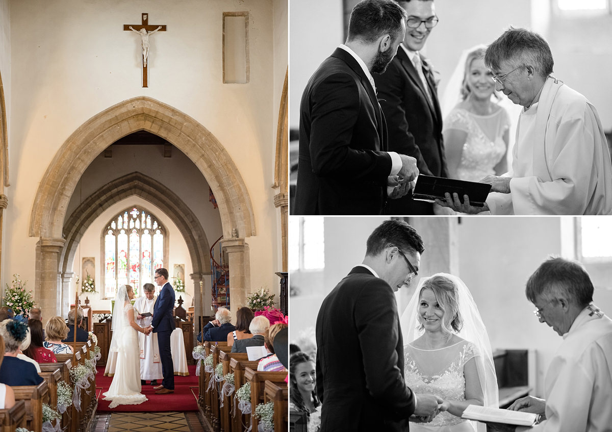 Exchanging vows & rings at Kings Cliffe church