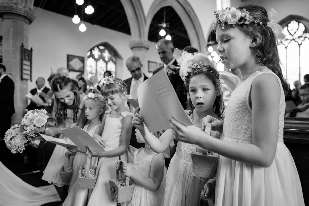 Flower girls singing hymns at Kings Cliffe church