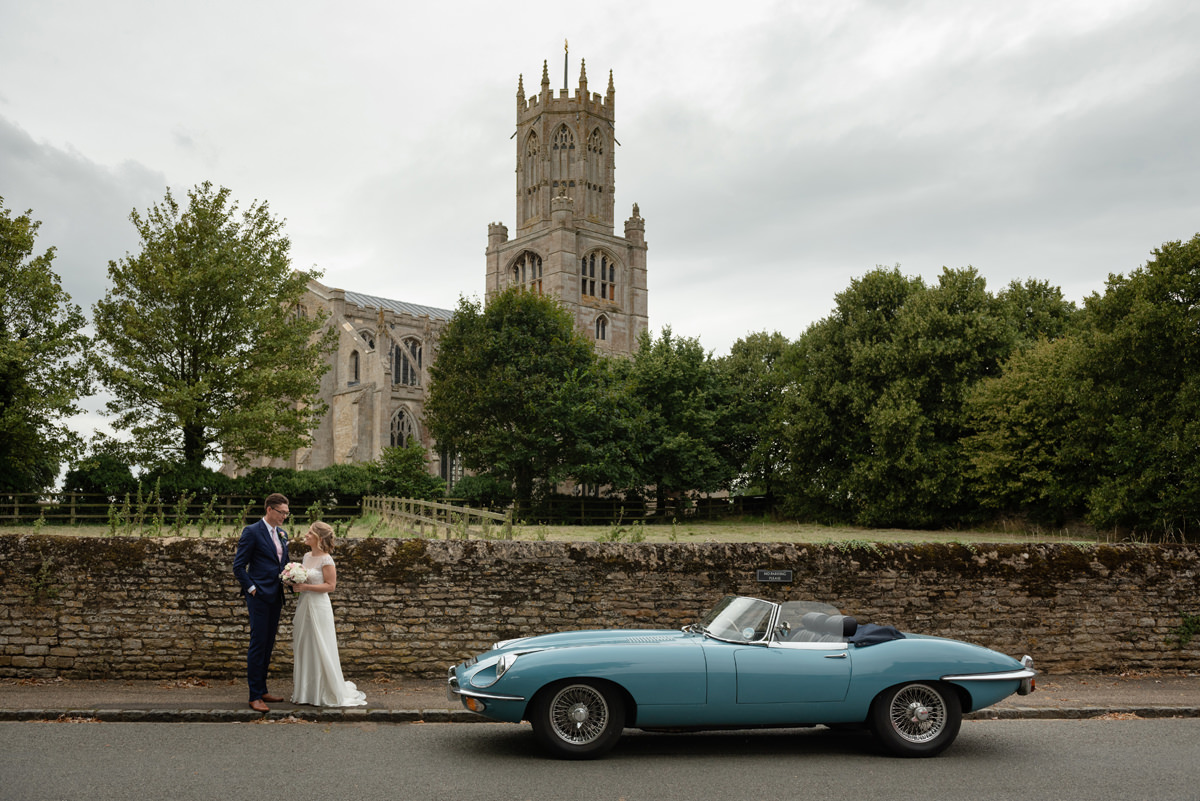 Wedding car at Fotheringhay church