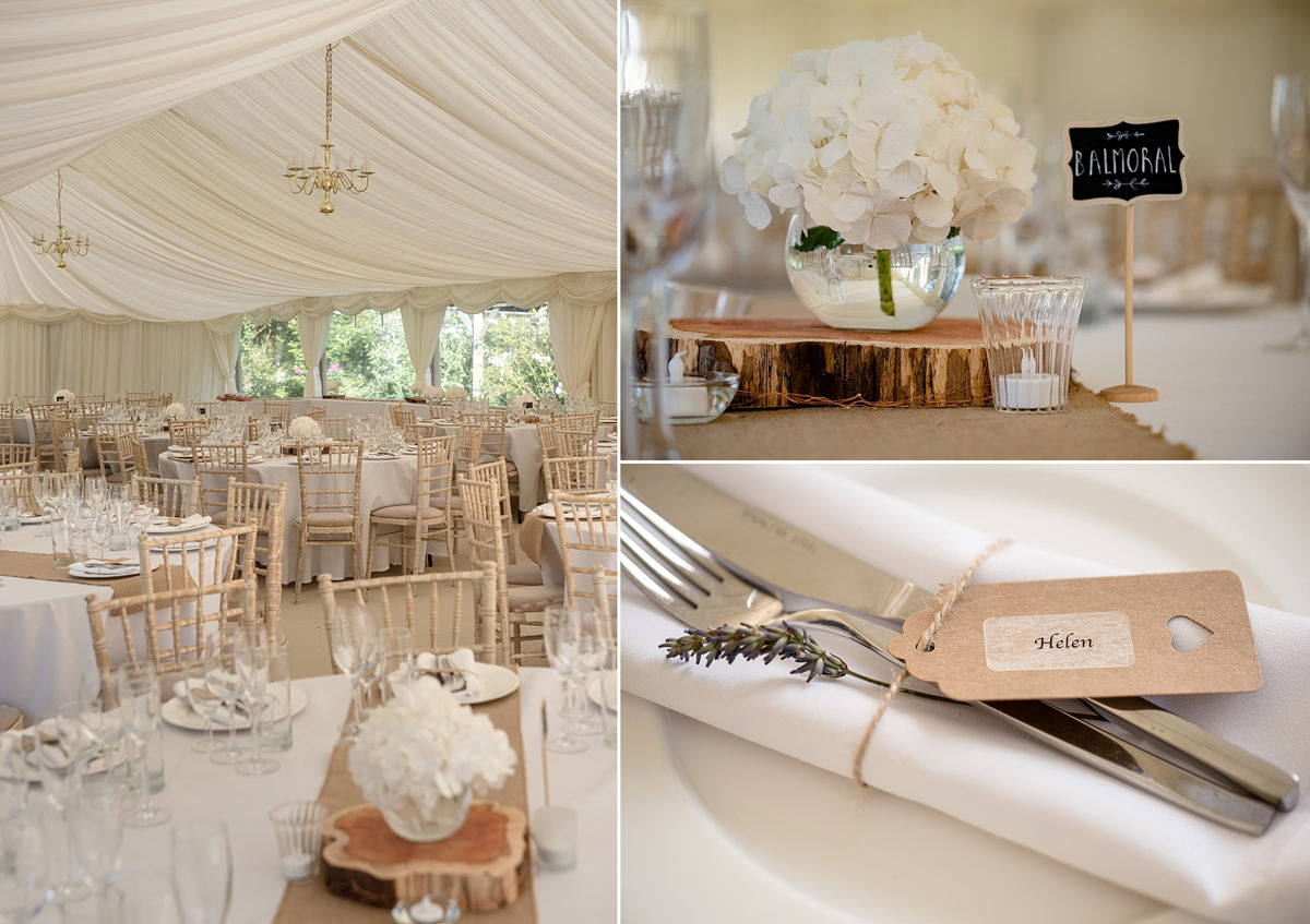 Cream, white and wood marquee decor