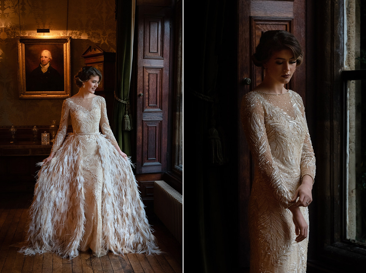Model wearing gold Eliza Jane Howell wedding dress at Holdenby House