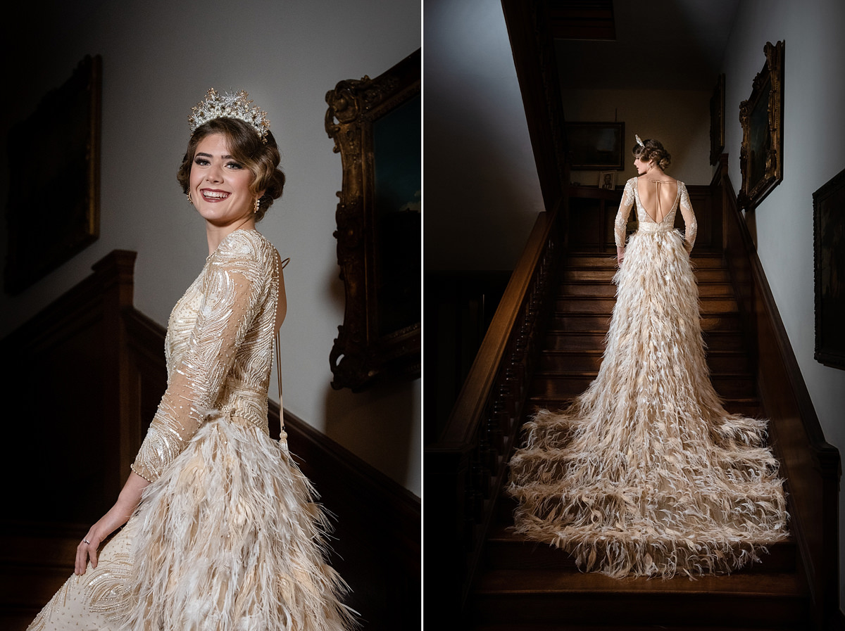 Model wearing Eliza Jane Howell wedding dress on the staircase at Holdenby House
