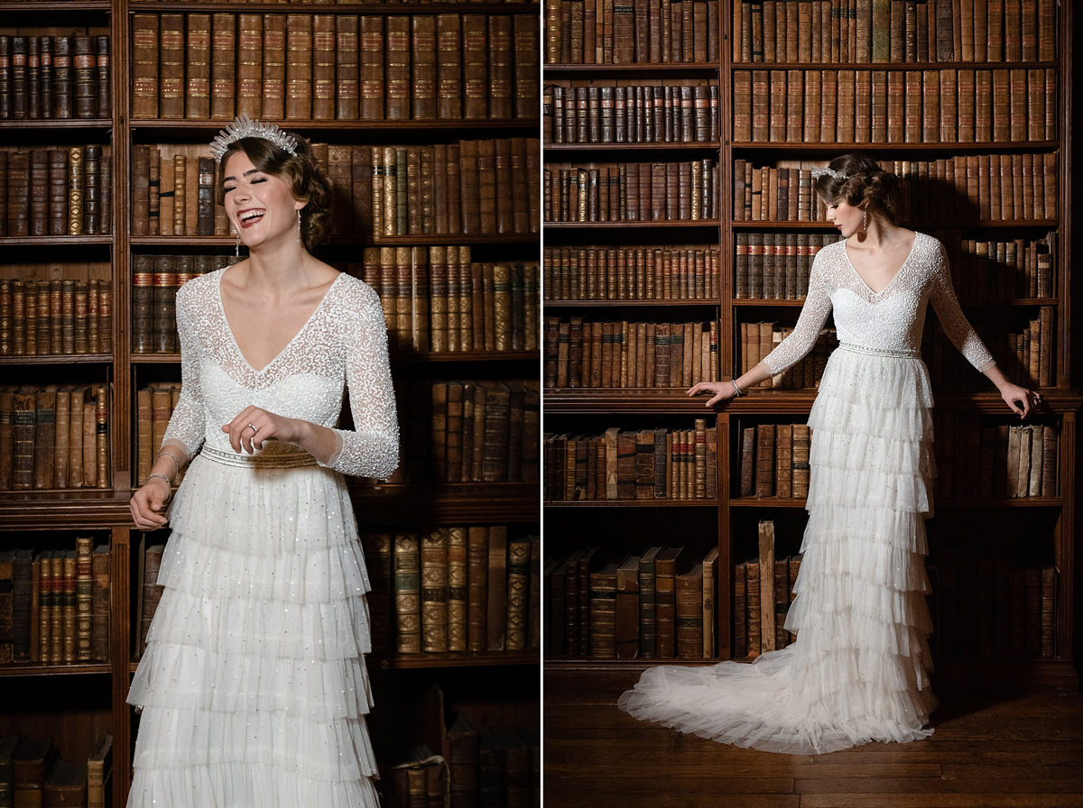 Model wearing Eliza Jane Howell in the library at Holdenby House
