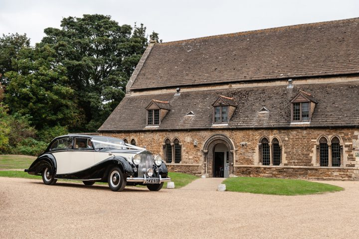 Wedding car outside Oakham Castle