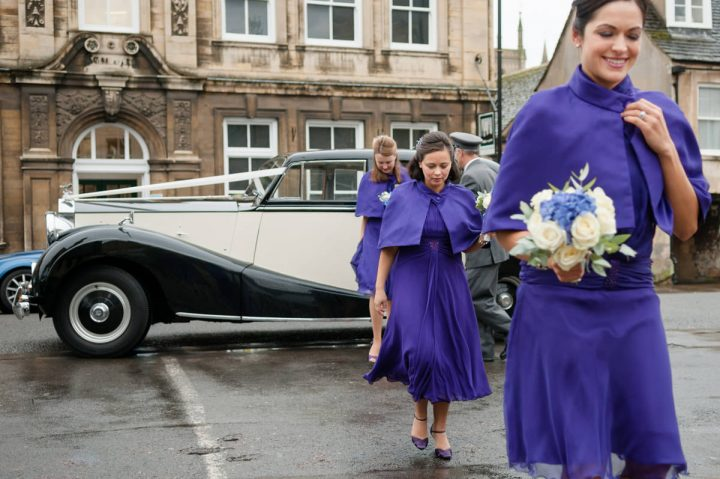 Bridesmaids arriving at church in Stamford