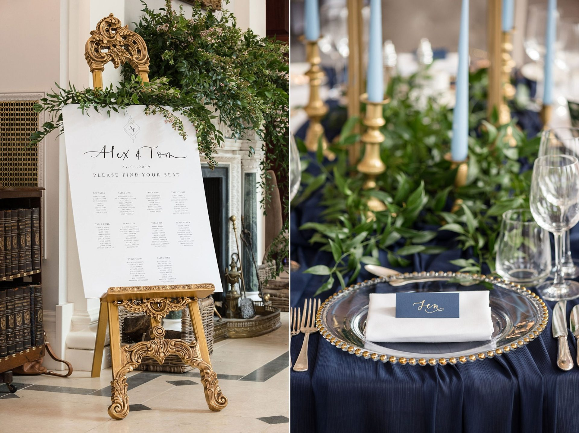 Left: Calligraphy table plan on a gold easel. Right: Navy and gold place-setting with beaded charger plate..