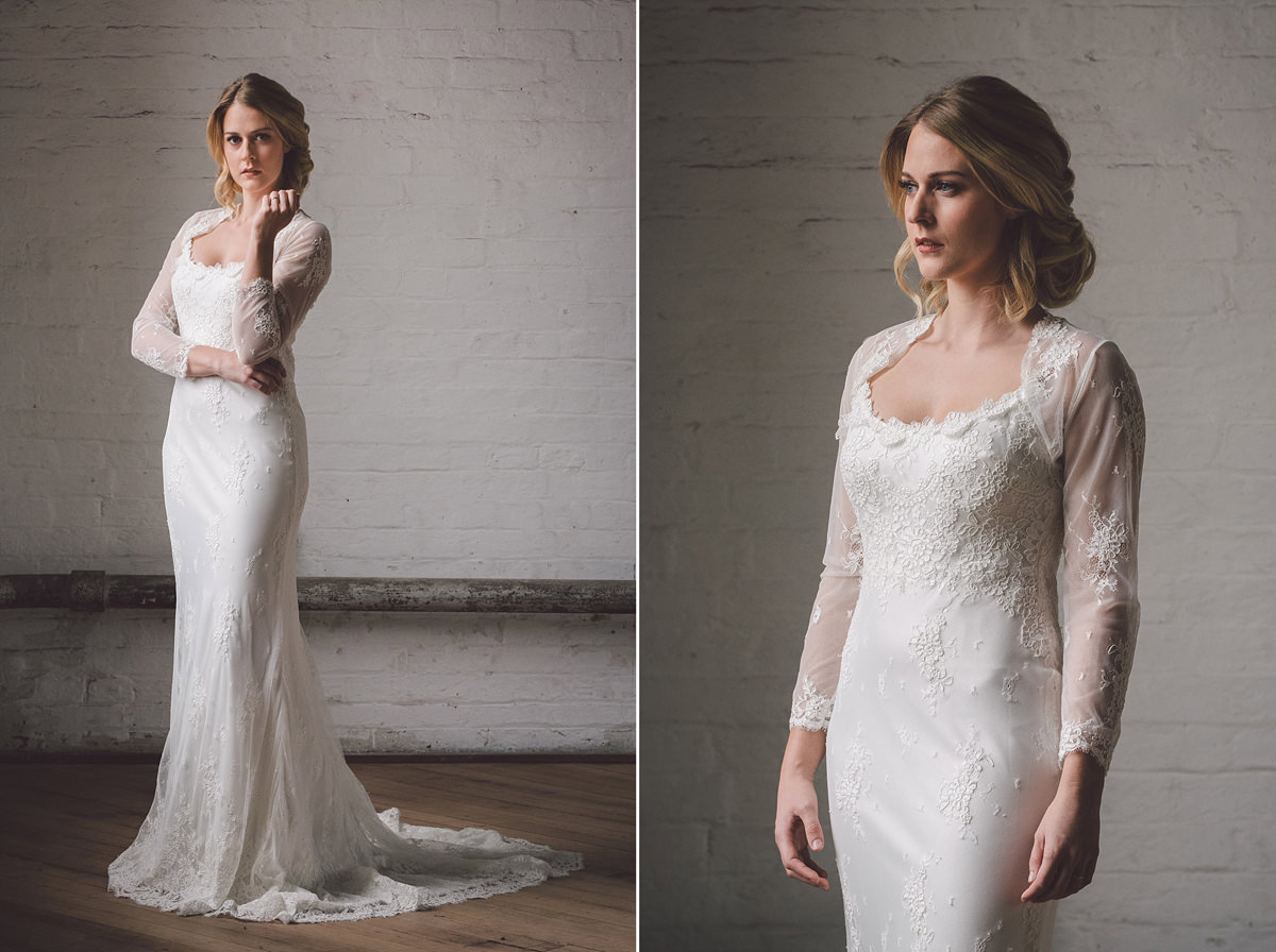 Martin Charles Couture lace wedding dress with sheer jacket