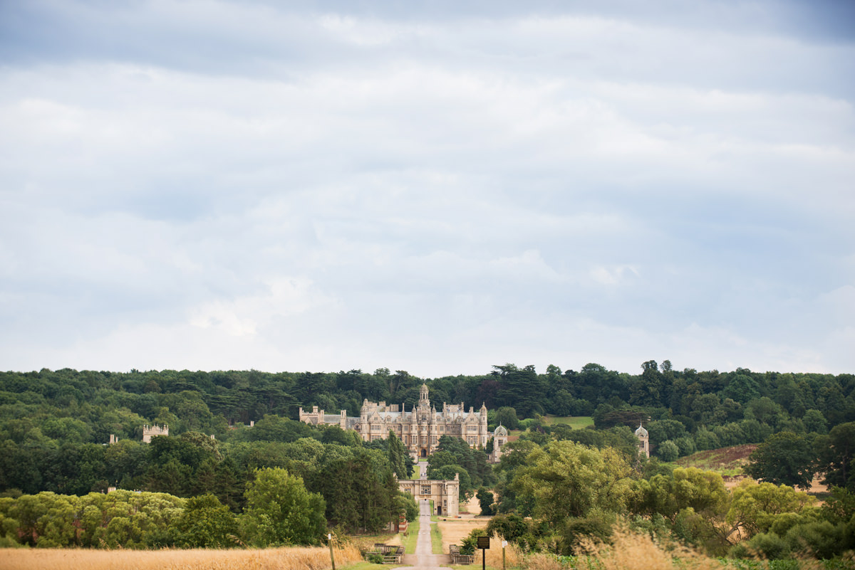 View of Harlaxton Manor from top of drive