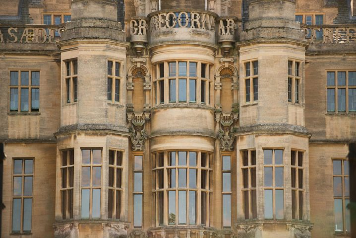 Detail of bay windows at the front of Harlaxton Manor