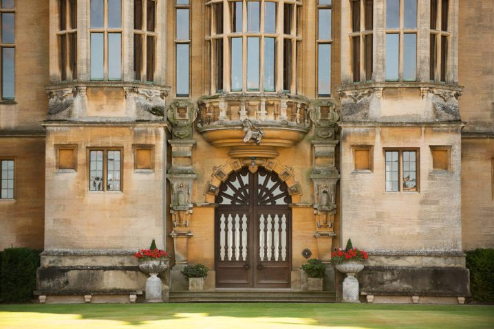 The front entrance to Harlaxton Manor