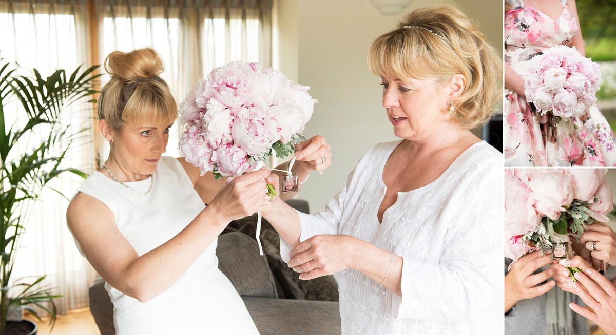 Fixing photo of bride's mum to wedding bouquet