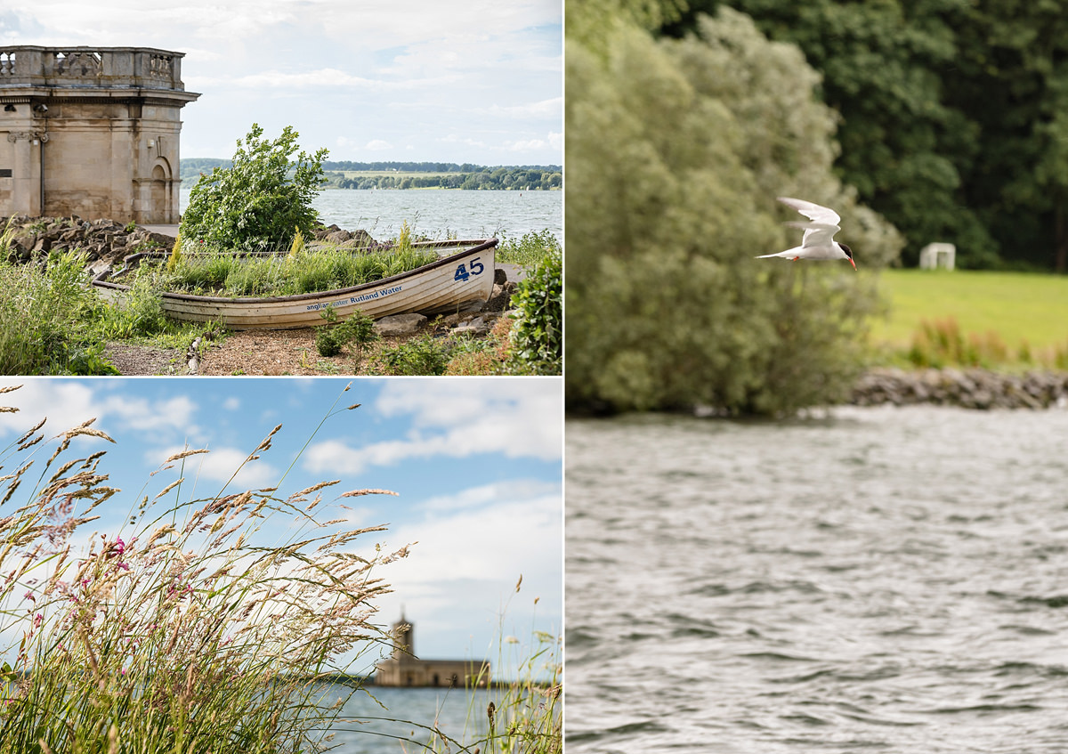 Old boat, long grasses and a diving bird at Normanton Church